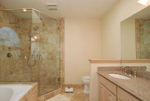 Modern Full Bathroom with Vinyl floors, Raised panel, Master bathroom, Arizona  Tile, MARIPOSA BUFF, Quartz, Undermount sink