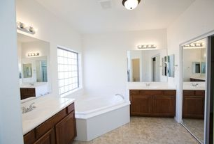 Traditional Full Bathroom with Powder room, drop in bathtub, Simple Marble, partial backsplash, Bathtub, picture window