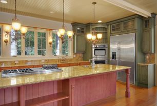 Eclectic Kitchen with Glass panel, Flat panel cabinets, One-wall, Simple granite counters, Pendant light, Stone Tile