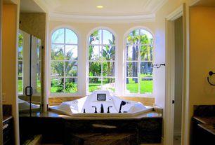 Traditional Full Bathroom with Crown molding, Complex granite counters, Complex Granite, frameless showerdoor, Rain shower