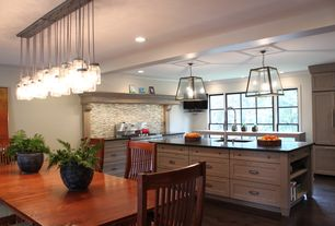 Contemporary Kitchen with Pottery barn tilden spindle back side chair, Flat panel cabinets, Galley, Exposed beam