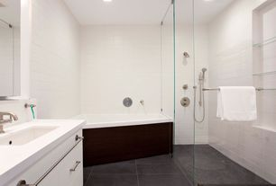 Contemporary Master Bathroom with European Cabinets, Freestanding, Master bathroom, Flush, Soapstone counters