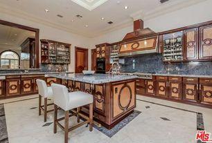 Traditional Kitchen with Breakfast bar, Raised panel, Complex Granite, Kitchen island, Glass panel, Complex granite counters