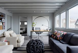 Contemporary Home Office with Crown molding, Built-in bookshelf, flush light, Exposed beam, Carpet