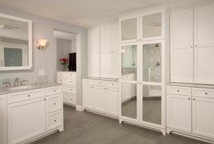 Traditional Master Bathroom with Flush, Complex Marble, French doors, Undermount sink, Handheld showerhead, Wall sconce