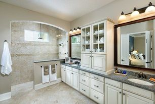 Traditional Master Bathroom with Undermount sink, Flush, Simple granite counters, Jania cream, Master bathroom, Rain shower