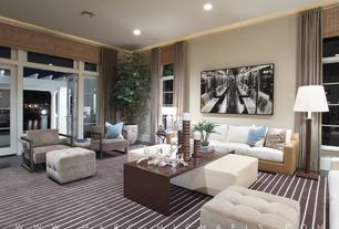 Contemporary Living Room with specialty door, Arteriors Kazu Large Sculpture, can lights, Standard height, Crown molding