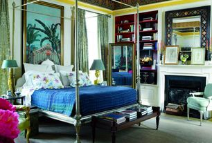 Eclectic Master Bedroom with Crown molding, Built-in bookshelf, Carpet, Stained Glass Mosaic Mirror, interior wallpaper