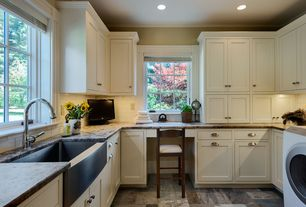 Traditional Laundry Room with slate floors, Crown molding, Farmhouse sink
