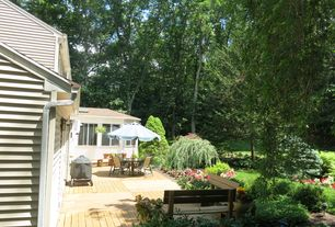 Traditional Deck with Deck Railing, Outdoor kitchen, picture window
