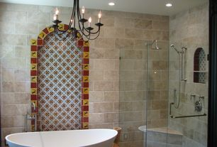 Mediterranean Master Bathroom with TransGlobe 6 Light Chandelier, Lizard Talavera MexicanTile