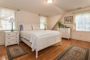 Cottage Master Bedroom with picture window, Paint, Hardwood floors, flush light, Standard height, double-hung window