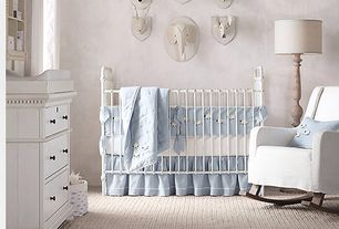 Traditional Kids Bedroom with Carpet, hand-knotted sheep nursery bedding collection, Kennedy Iron Crib, wool felt deer head