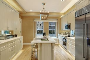Contemporary Kitchen with partial backsplash, Standard height, Complex marble counters, can lights, Flush, Pendant light