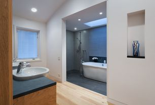 Contemporary Master Bathroom with Handheld showerhead, Pfister - Parisa 4 in. Centerset Single-Handle Mid-Arc Bathroom Faucet