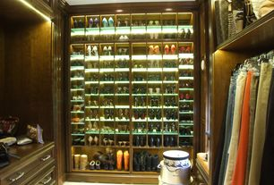 Traditional Closet with High intensity led lighting, Timberdoodle Glamour Closet Cherry Stain, Carpet, Custom shoe storage