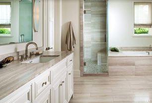 Traditional Master Bathroom with MS International Eramosa Beige Porcelain Tile, Framed Partial Panel, Flat panel cabinets