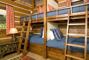 Country Kids Bedroom with double-hung window, Bunk beds, Exposed beam, High ceiling, Window seat, limestone tile floors