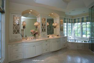 Traditional Master Bathroom with Glass panel, Daltile Limestone - Crema Europa, Undermount sink, Master bathroom, Flush