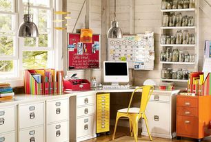 Eclectic Home Office with Desk, Pendant light, Amazon kenroy home 92067ani nautilus 1 -light mini pendant, Hardwood floors