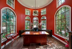 Traditional Home Office with Crown molding, Built-in bookshelf, Arched window, Ceiling fan, DMi Executive Double Pedestal