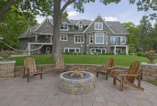 Traditional Patio with Pathway, exterior stone floors, Fire pit