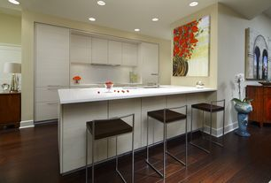 Contemporary Kitchen with Breakfast bar, Corian Designer White Solid Surface Countertop, One-wall, European Cabinets, Flush
