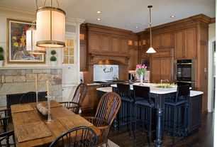 Traditional Kitchen with Raised panel, Kitchen island, Crown molding, Pendant light, Inset cabinets, Custom hood, L-shaped