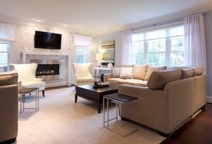 Contemporary Living Room with metal fireplace, Crown molding, stone fireplace, Hardwood floors