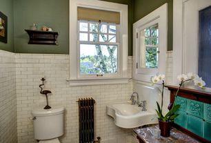 Traditional 3/4 Bathroom with Wainscotting, Flat panel cabinets, Large Ceramic Tile, Flush, Built-in bookshelf