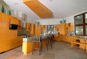 Kitchen with slate tile floors, Pendant light, Glass panel, Breakfast bar, Breakfast nook, Undermount sink, Ceramic Tile