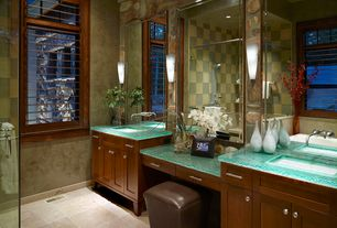 Craftsman Master Bathroom with full backsplash, Flush, can lights, Bathtub, stone tile floors, Shower, limestone tile floors