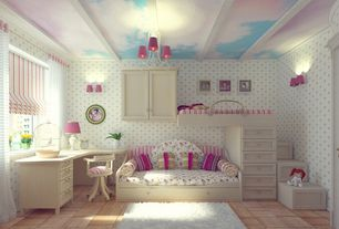 Contemporary Kids Bedroom with Naples white daybed, Built-in bookshelf, Wall sconce, Bunk beds, interior wallpaper