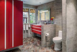 """Modern Master Bathroom with Emser Tile Perspective 12"""" x 24"""" Glazed Porcelain Tile in Gray, Custom Designed Bathroom"""