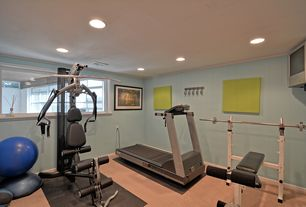 Contemporary Home Gym with Carpet, Crown molding