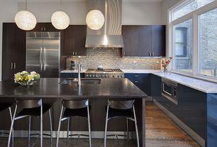 Contemporary Kitchen with Breakfast bar, American olean - morello moonstone mm02 random mosaic tile, High ceiling, Flush