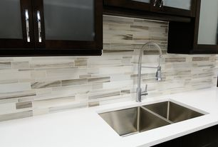 "Contemporary Kitchen with Ann Sacks Calacatta Borghini, White quartz countertop in ""snowstorm"""