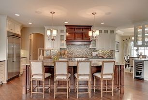 Traditional Kitchen with Chandelier, Built In Refrigerator, Kitchen island, Raised panel, Glass panel, Breakfast bar, Paint 1