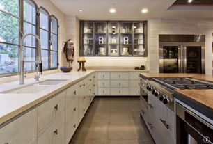 Contemporary Kitchen with Kitchen island, York wallcoverings grasscloth cp9350, Glass panel, Wood counters, Flush, L-shaped