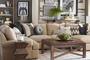 Contemporary Living Room with Standard height, Neutral sofa, Geometric end table, Upholstered coffee table, Bassett Maddo Rug