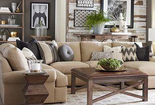 Contemporary Living Room with Bassett Maddo Rug, Built-in bookshelf, Crown molding, Hardwood floors