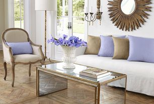 Contemporary Living Room with Hardwood floors, Paint, Restoration Hardware Lyon Chair, Suzanne Kasler Sunburst Mirror #4