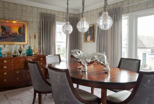 Contemporary Dining Room with Carpet, Crown molding, interior wallpaper, Pendant light