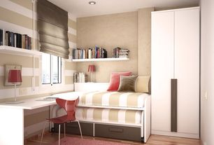 Contemporary Guest Bedroom with Laminate floors, Engineered click real hardwood flooring, Jake chair, interior wallpaper