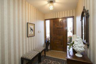 Craftsman Entryway with specialty door, Brick floors, flush light, interior wallpaper