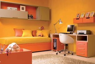 Contemporary Kids Bedroom with Adesso Silver Contemporary LED Architect Desk Lamp, EKBY ALEX Shelf with Drawers