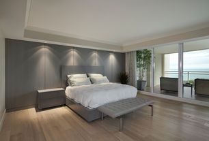 Contemporary Master Bedroom with J&m furniture faro panel bed, Crown molding, Hardwood floors, Recessed lighting