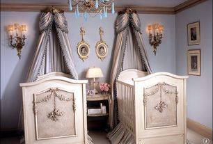 Traditional Kids Bedroom with Wall sconce, Ornate bouillotte style table lamp, Vintage Blue Opaline Chandelier, Carpet