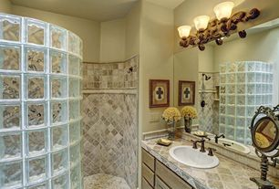 Master Bathroom with Limestone tile counters, Dolce Widespread Bathroom Faucet, Large Ceramic Tile, Raised panel