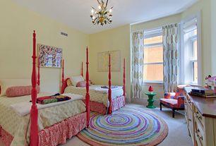 Eclectic Kids Bedroom with no bedroom feature, Chandelier, Standard height, Carpet, double-hung window